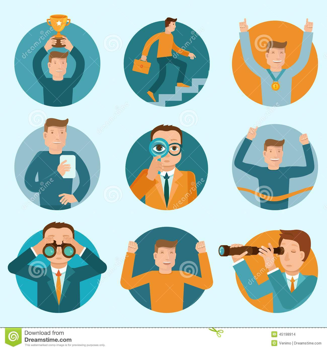 Vector Set Of Flat Business Illustrations Stock Vector ...