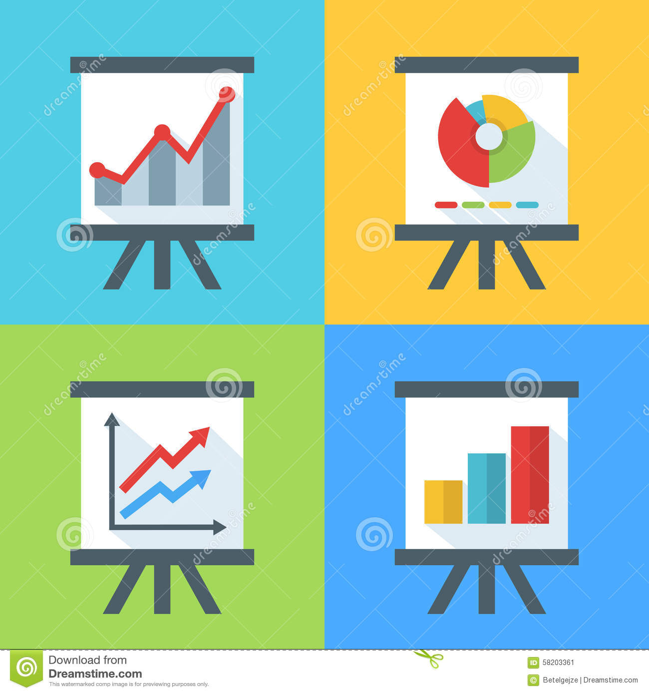 Vector Set Of Flat Diagram And Chart Icons On The Board. Stock ...