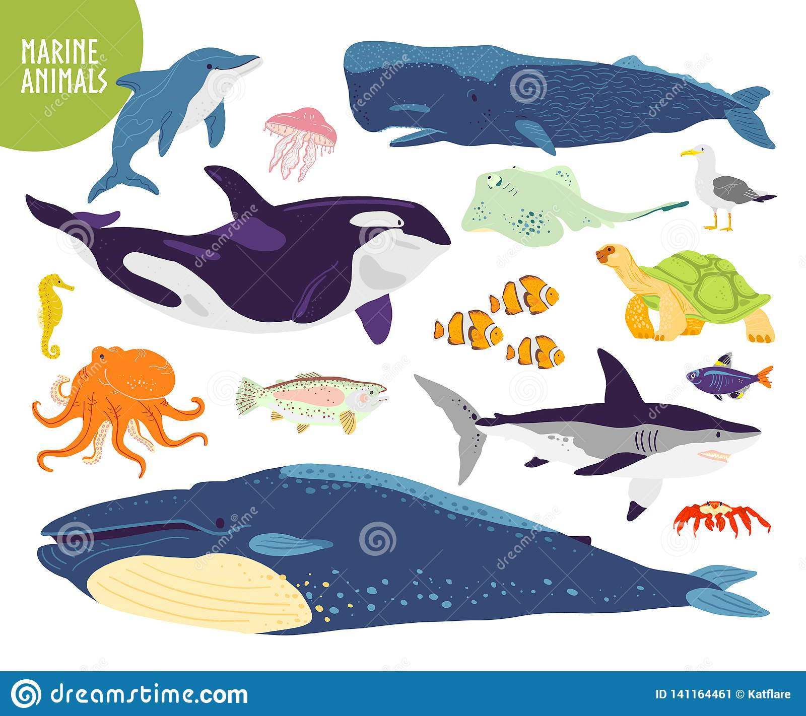 Vector set of flat hand drawn cute marine animals: whale, dolphin, fish, shark, jellyfish.