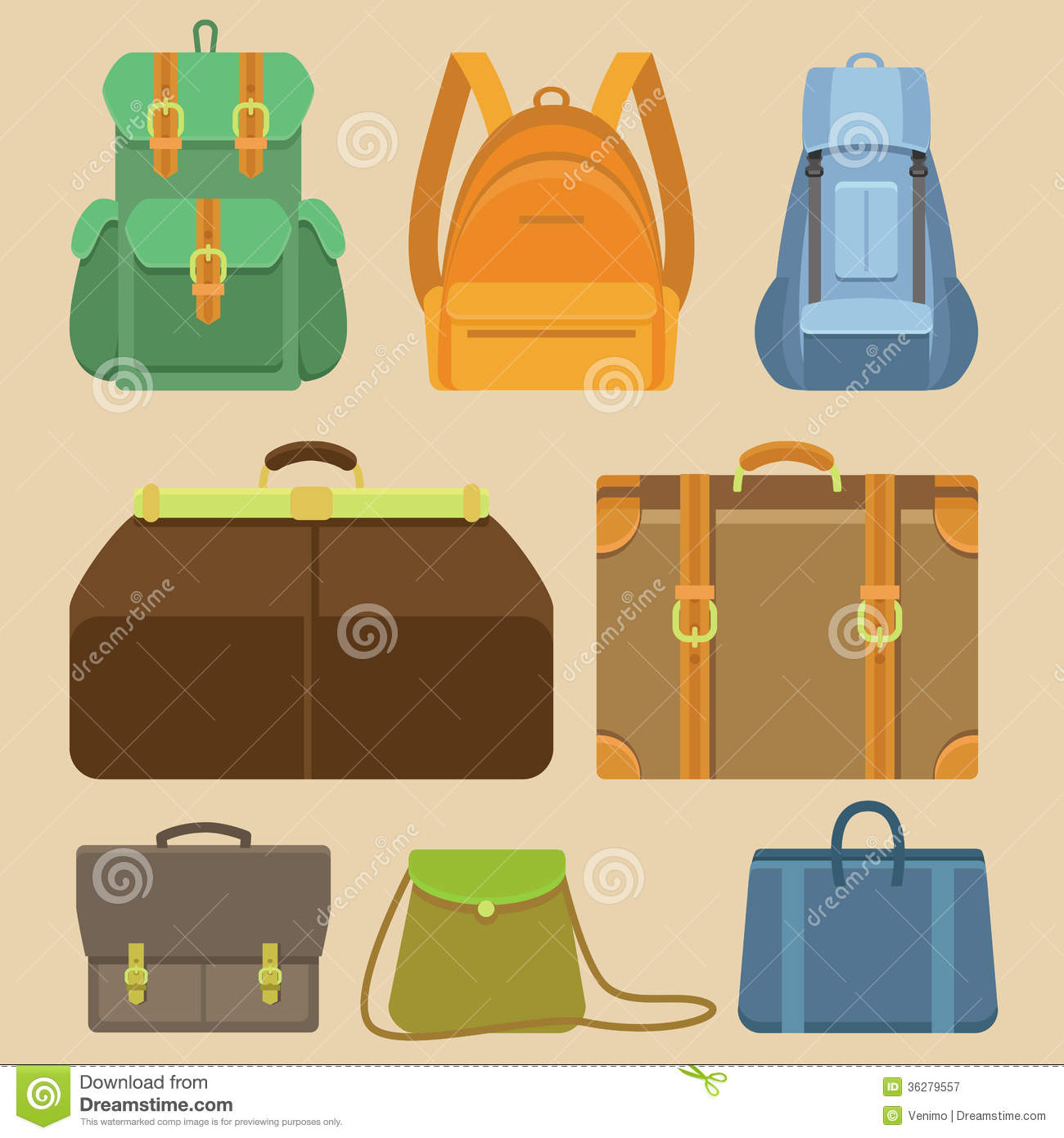 Vector Set Of Flat Icons - Bags And Backpacks Royalty Free