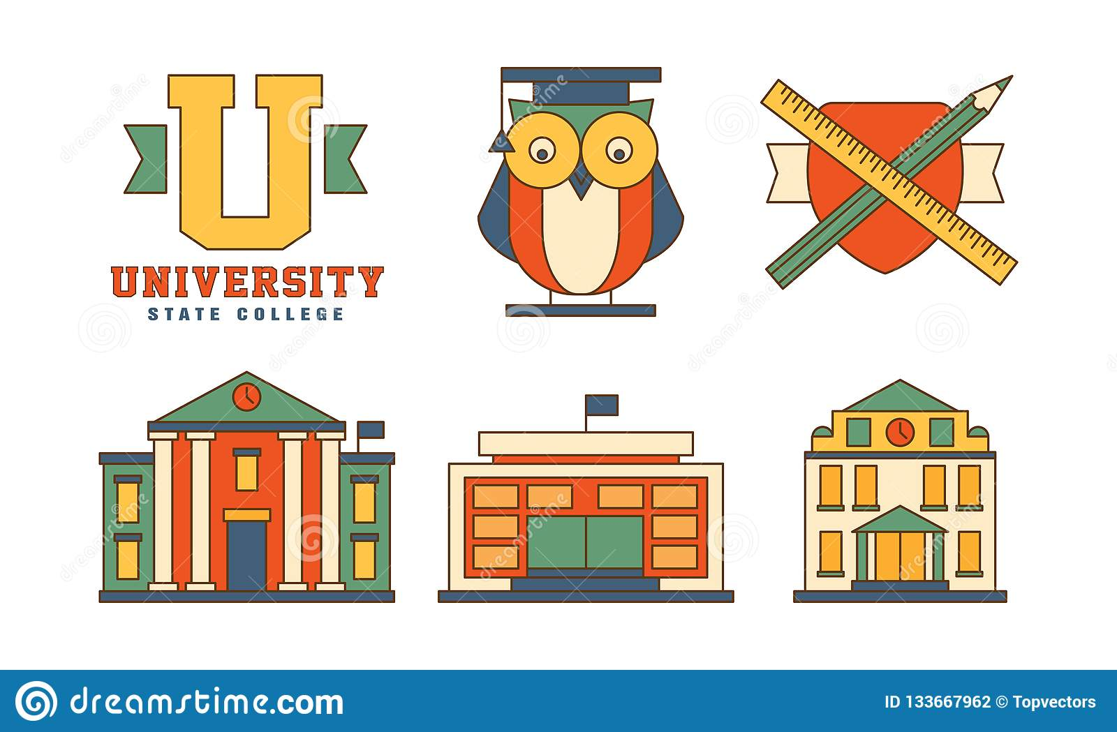 Vector set of flat outline icons related to education theme. Buildings and owl in mantle. Original emblems for