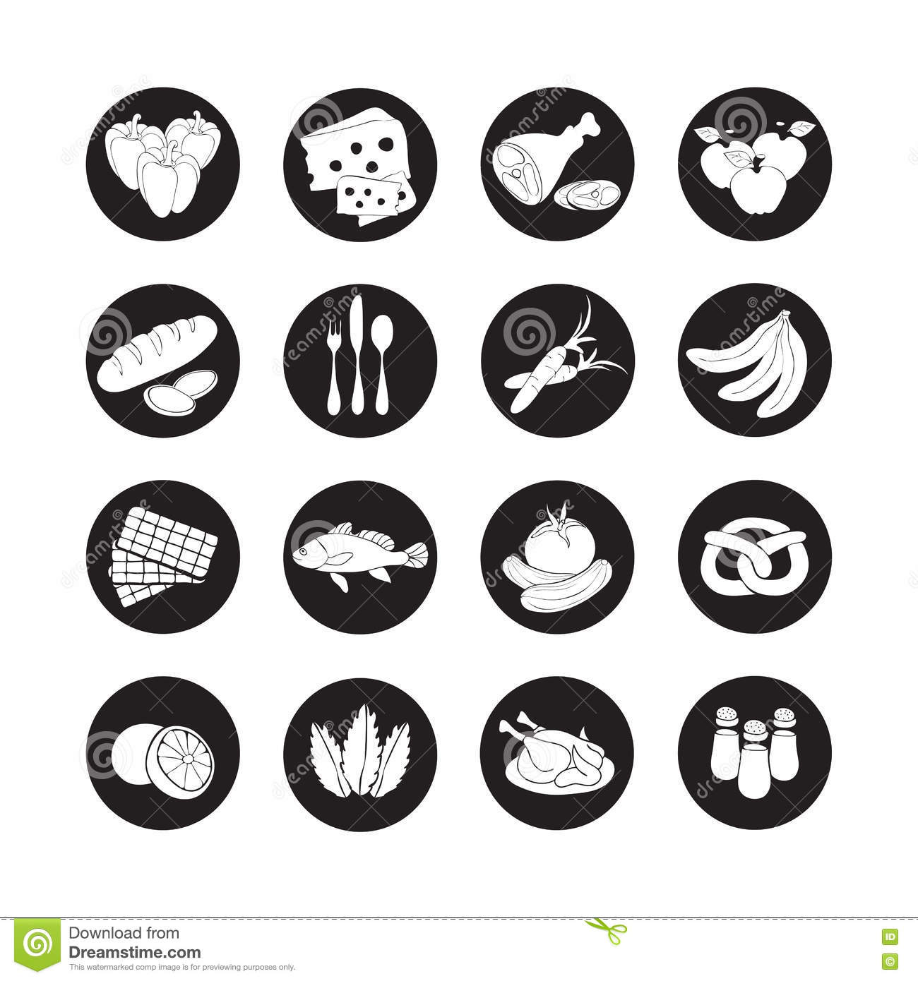 Vector Set Flat Web Icons With Food. Drawn Cartoon Black And White ...