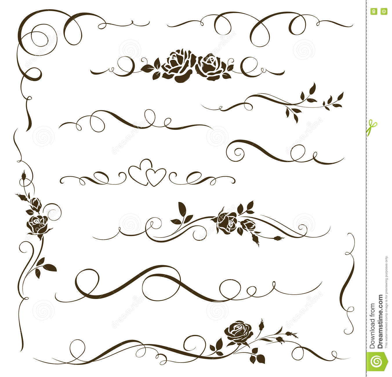 Vector set of floral calligraphic elements dividers