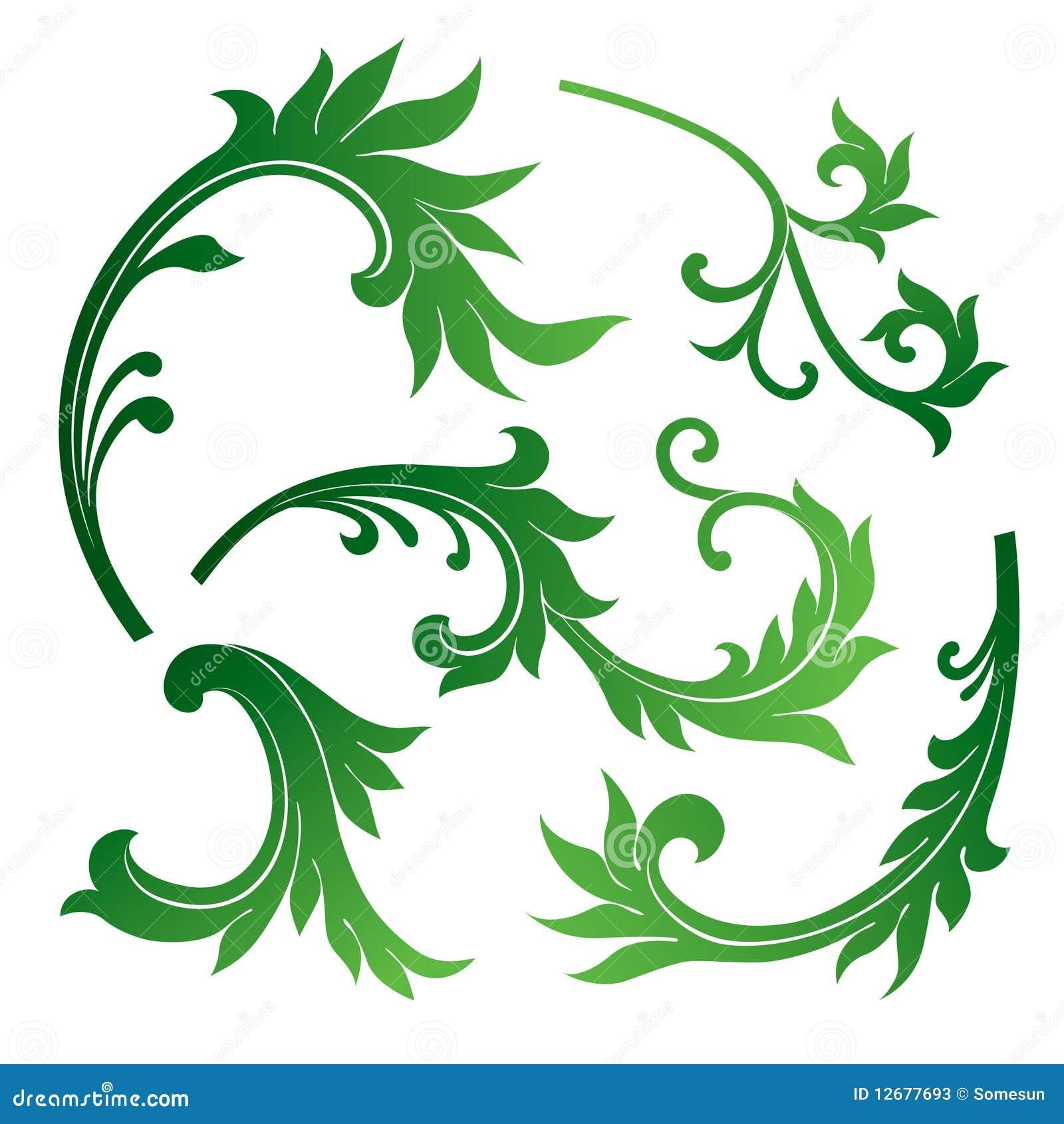 Set Of Black Flower Design Elements Stock Vector: Vector Set Of Floral Design Elements Stock Vector