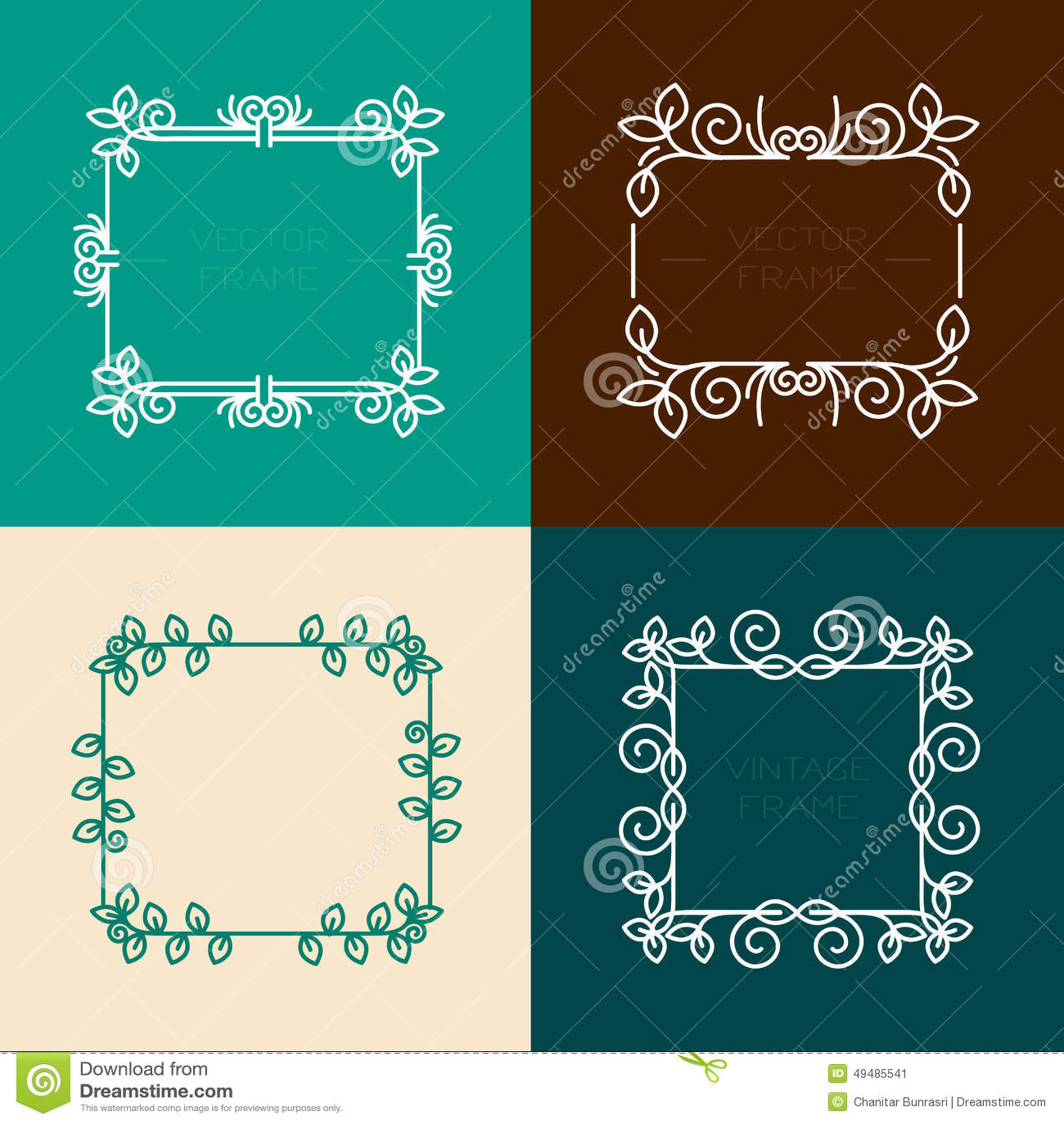Graphic Design Elements Line : Vector set of floral frames stock image