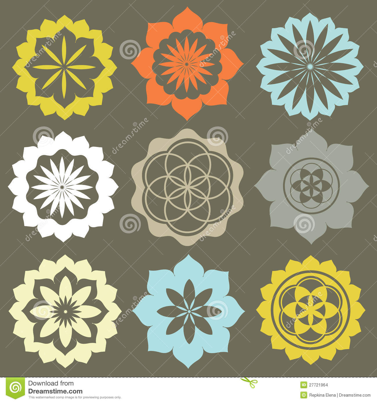 Vector Set Flower Symbols Stock Image