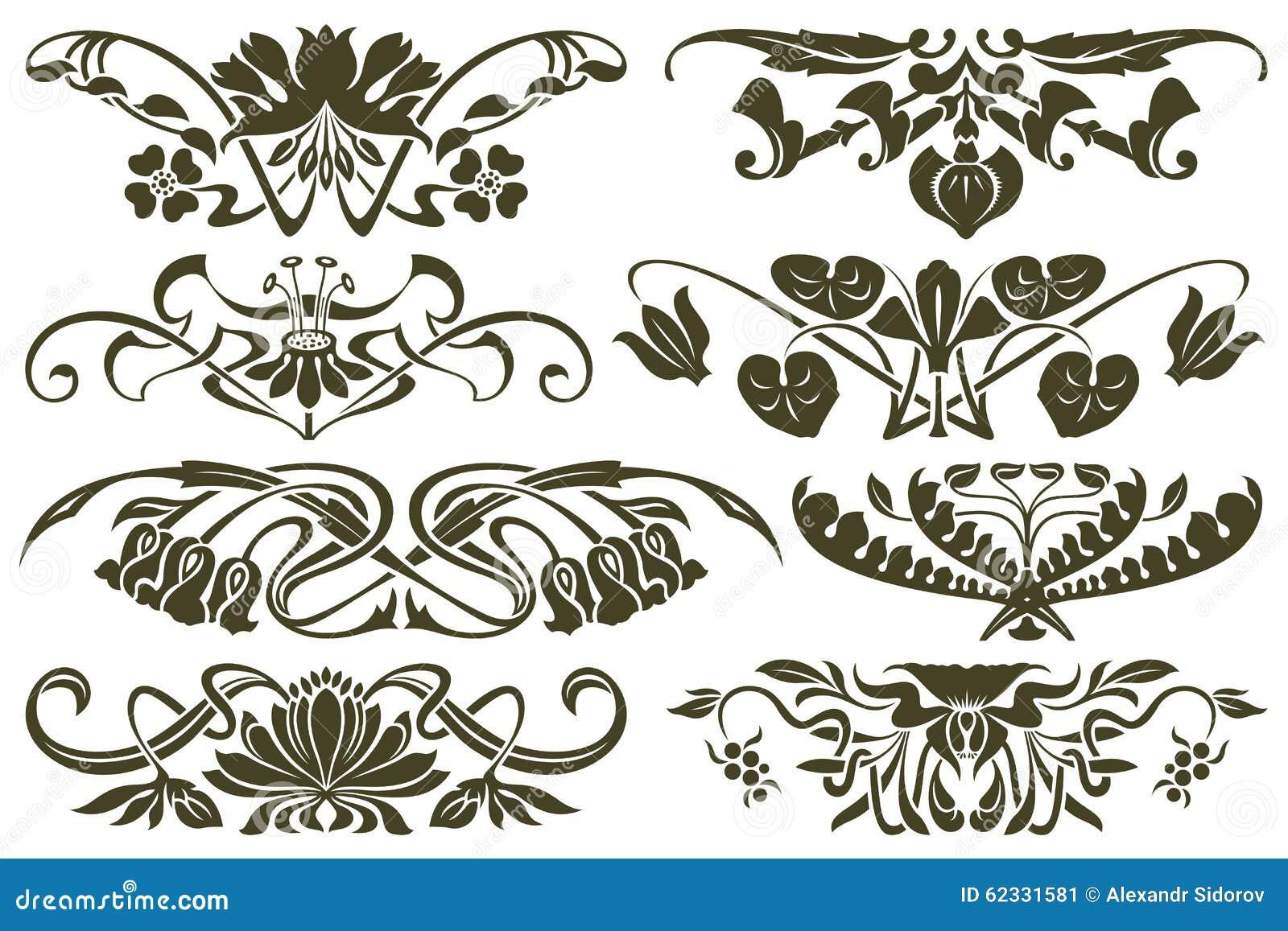 vector set flower vignette on different versions stock. Black Bedroom Furniture Sets. Home Design Ideas