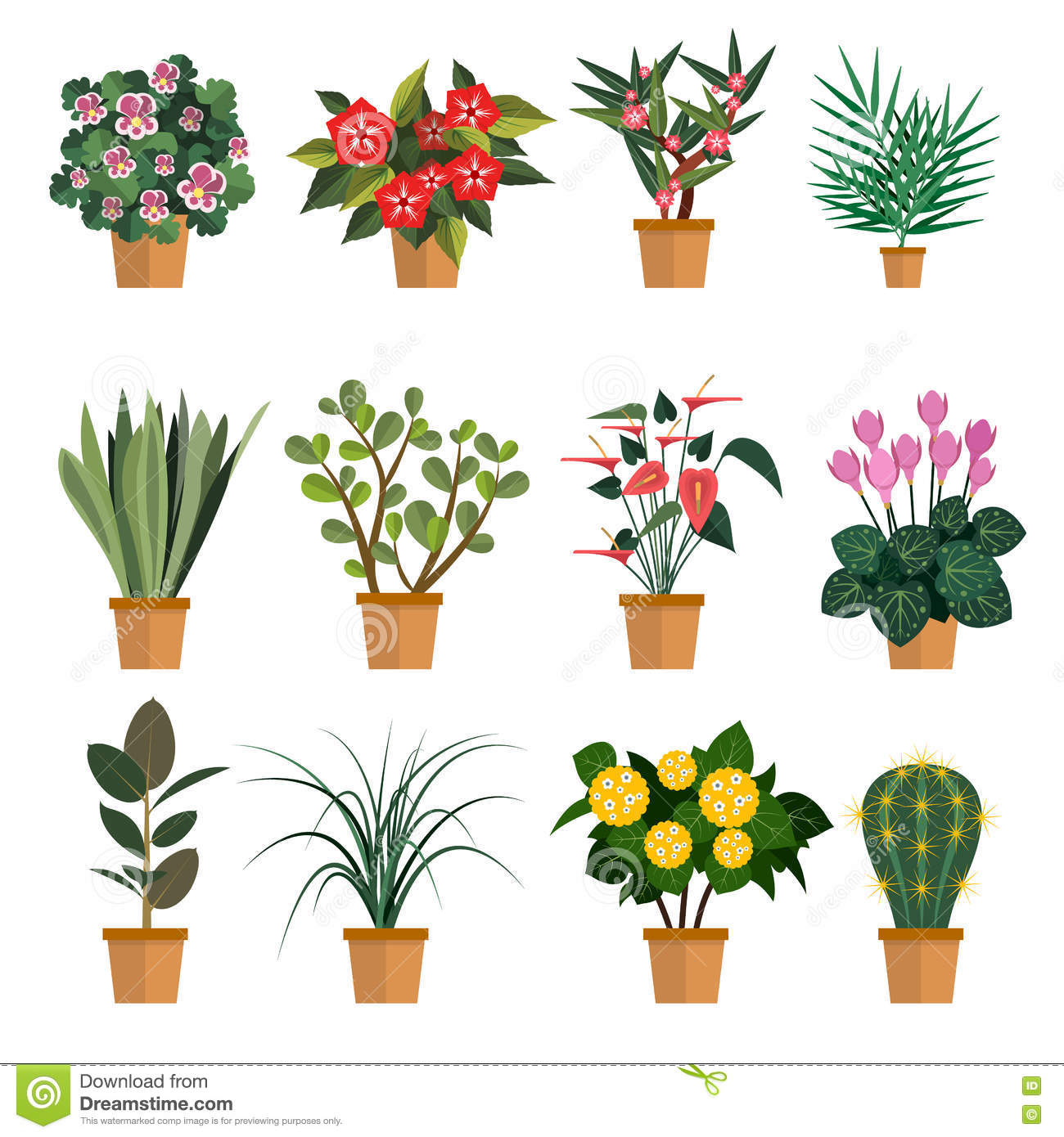 Vector set of flowers illustration with different types pot flower vector set of flowers illustration with different types pot flower icons isolated on white background mightylinksfo