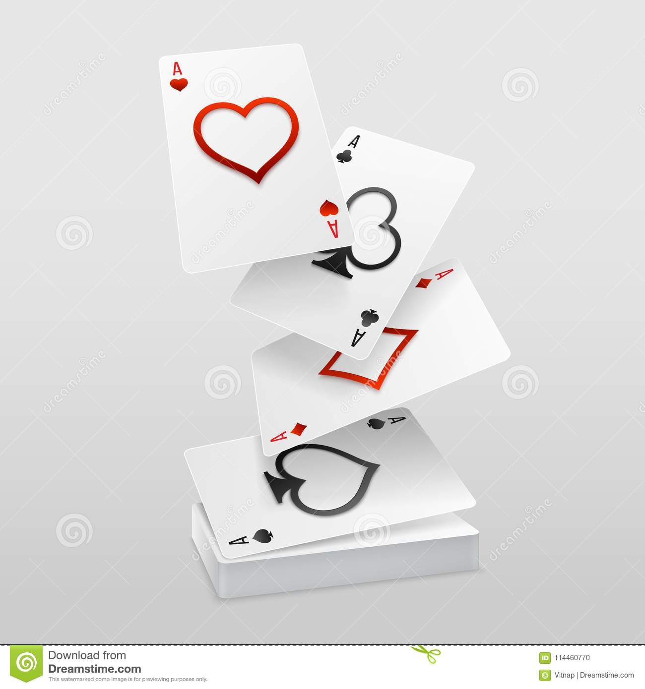 Vector Set Of Four Aces Playing Cards Fall On The Card Deck Stock