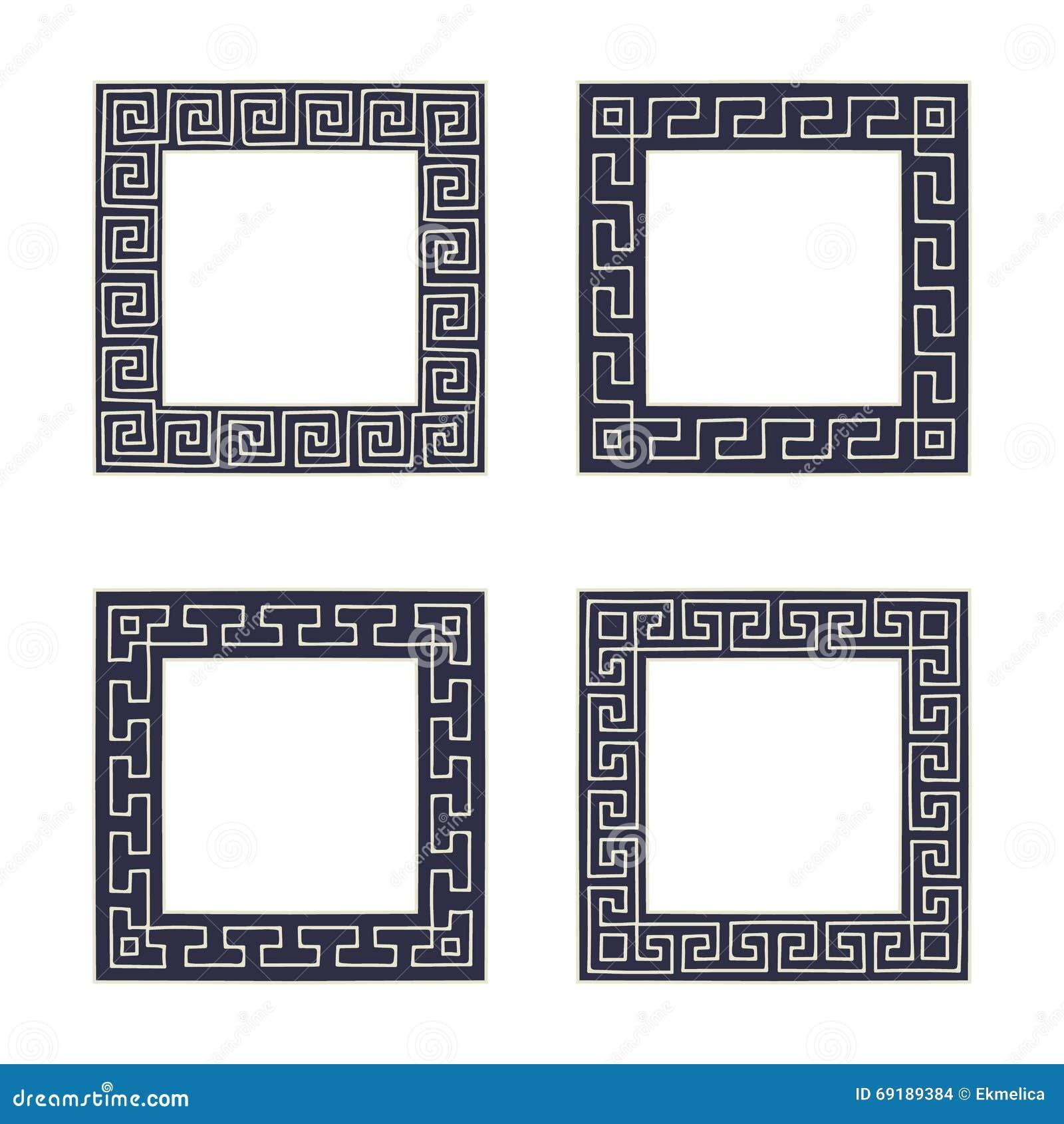 vector set of four square meander frames
