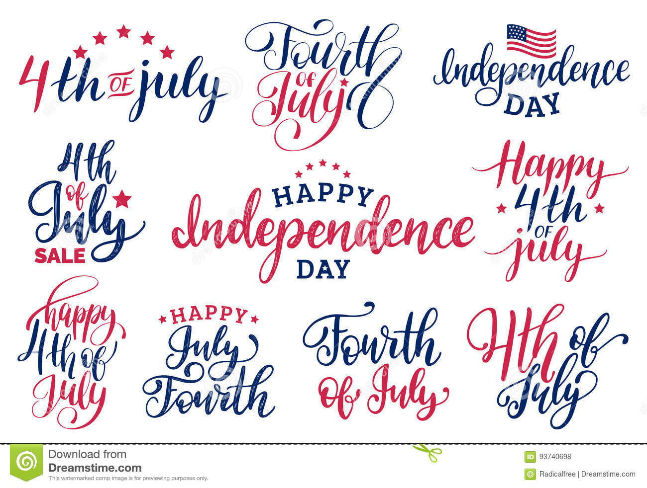 Vector Set Fourth Of July Hand Lettering Inscriptions For Greeting