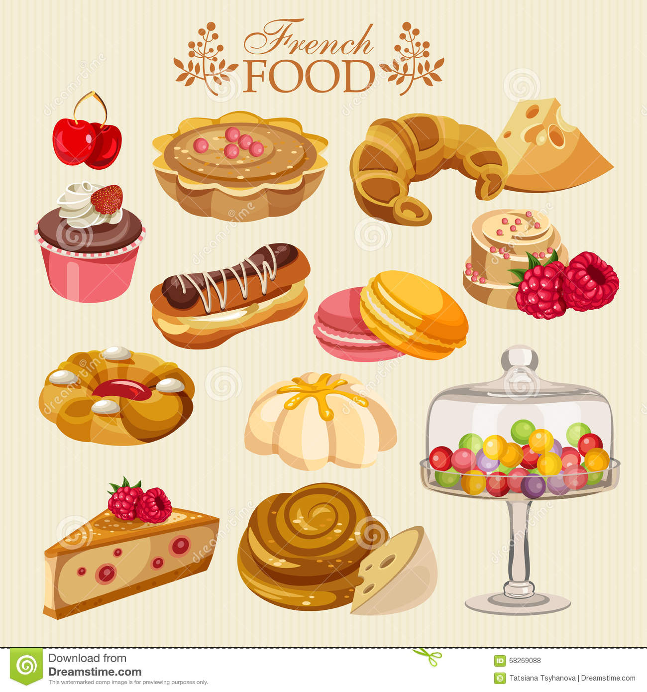 Vector Set Of French Cuisine. National Food Of France. Icons For ...