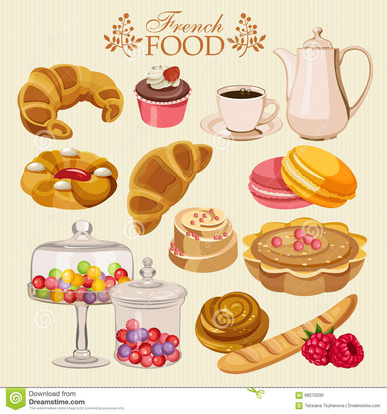 Vector Set Of French Cuisine National Sweet Food Of