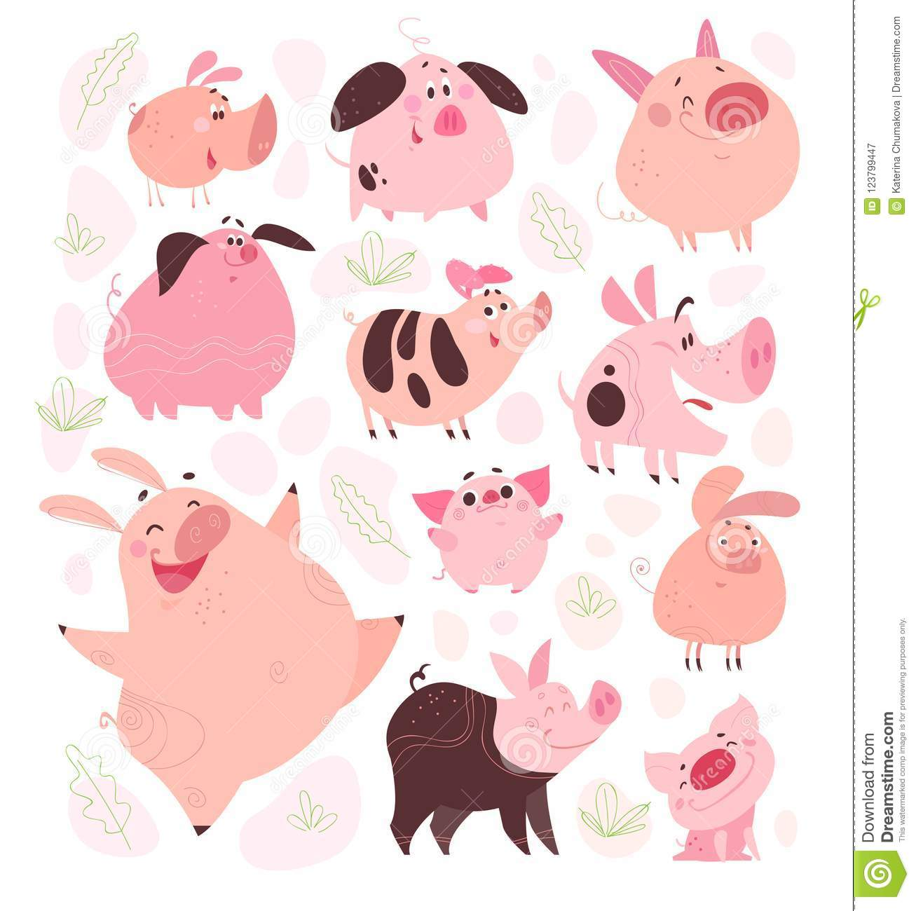 vector set of funny flat different pig characters design isolated on