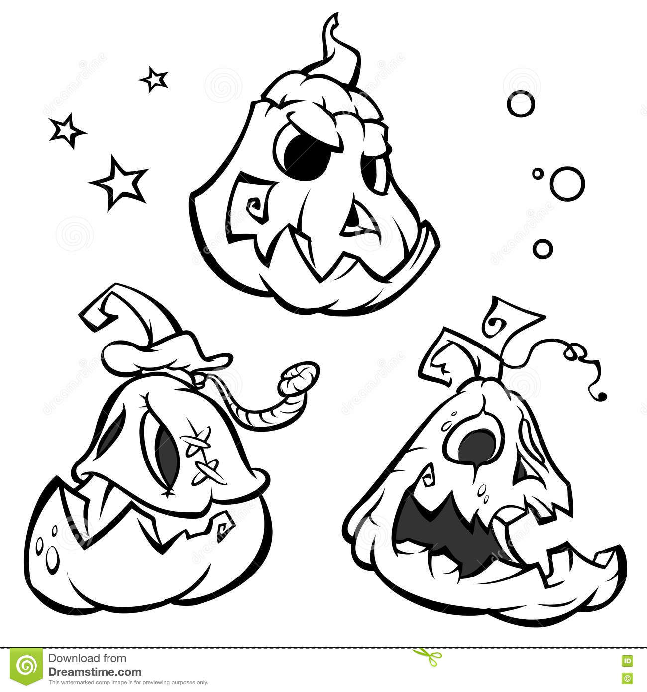 vector set of 3 funny halloween pumpkins with black outline stock