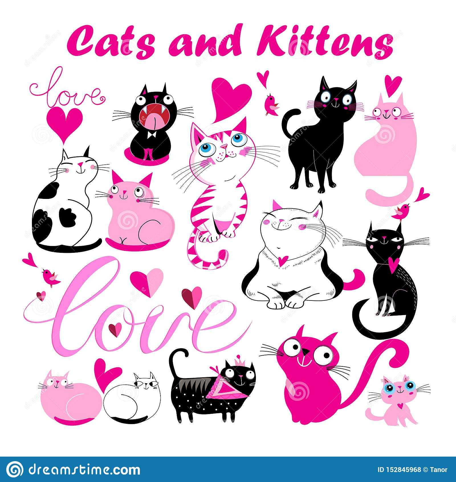 Vector set of funny kittens and cats with hearts