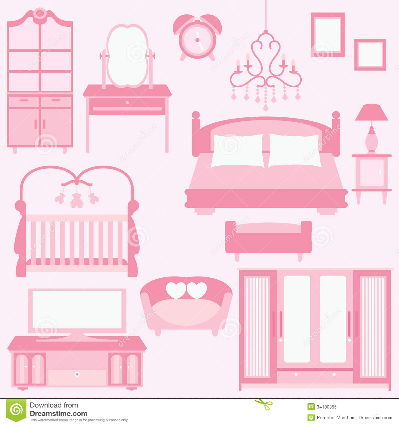Bedroom Interior Design Set Furniture Vector ~ Vector set of furniture in bedroom stock