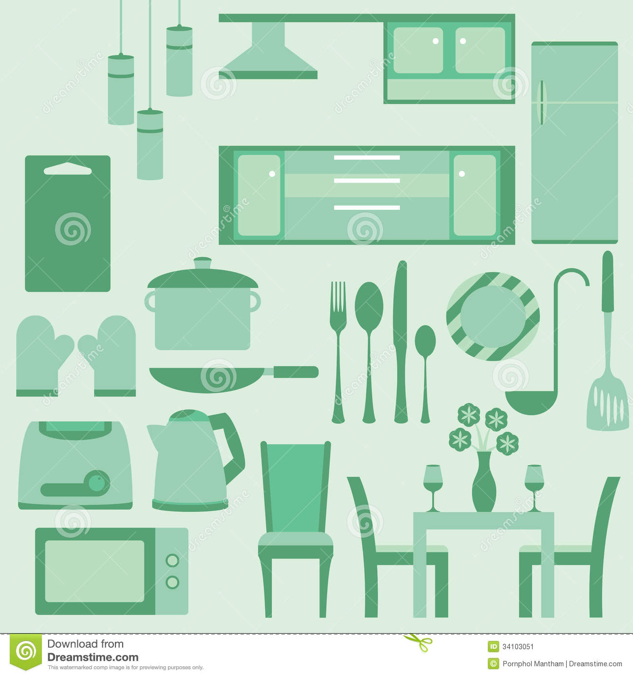 Vector set of furniture in kitchenroom stock vector for Kitchen set vector