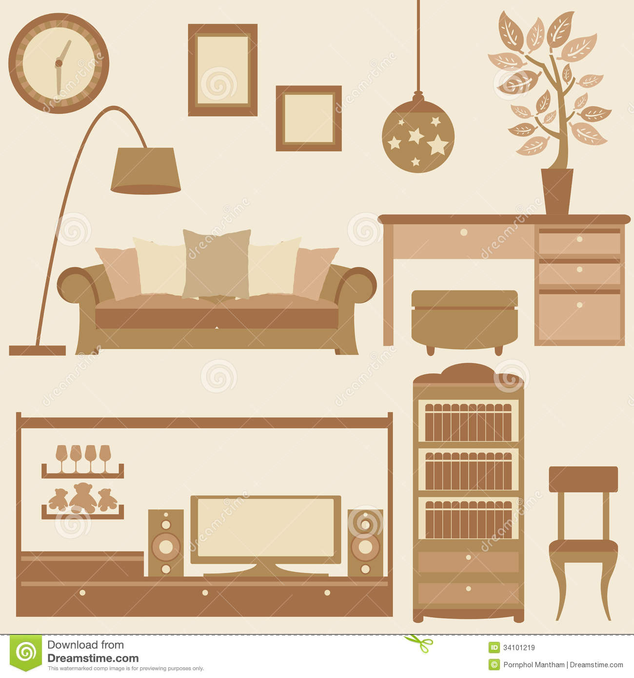 For Furniture In Living Room Vector Set Of Furniture In Living Room Royalty Free Stock Images
