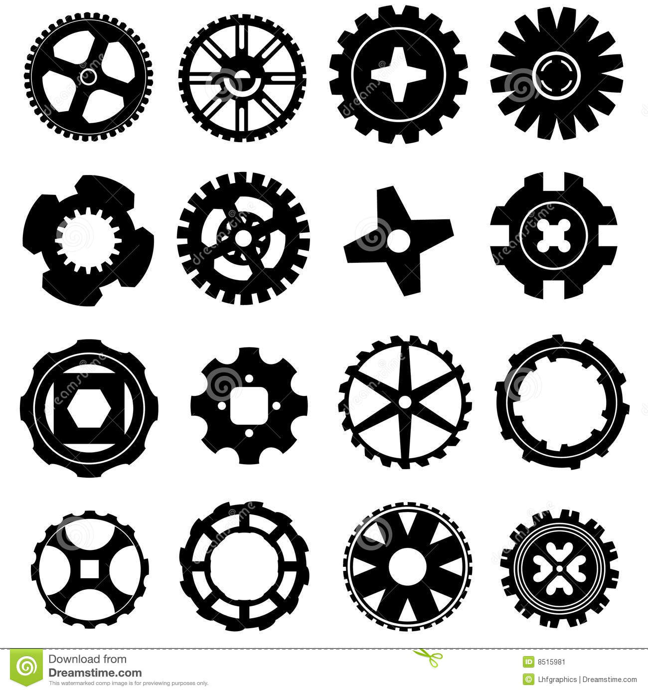 Vector Set Of Gear Icons Stock Image - Image: 8515981
