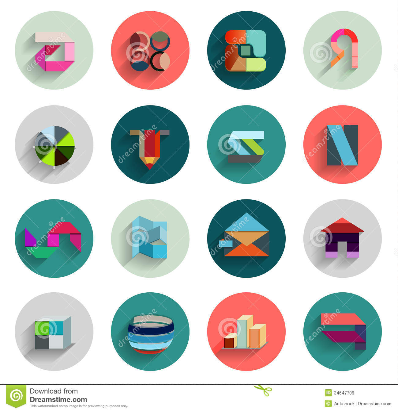 vector set of geometric abstract flat icons stock vector