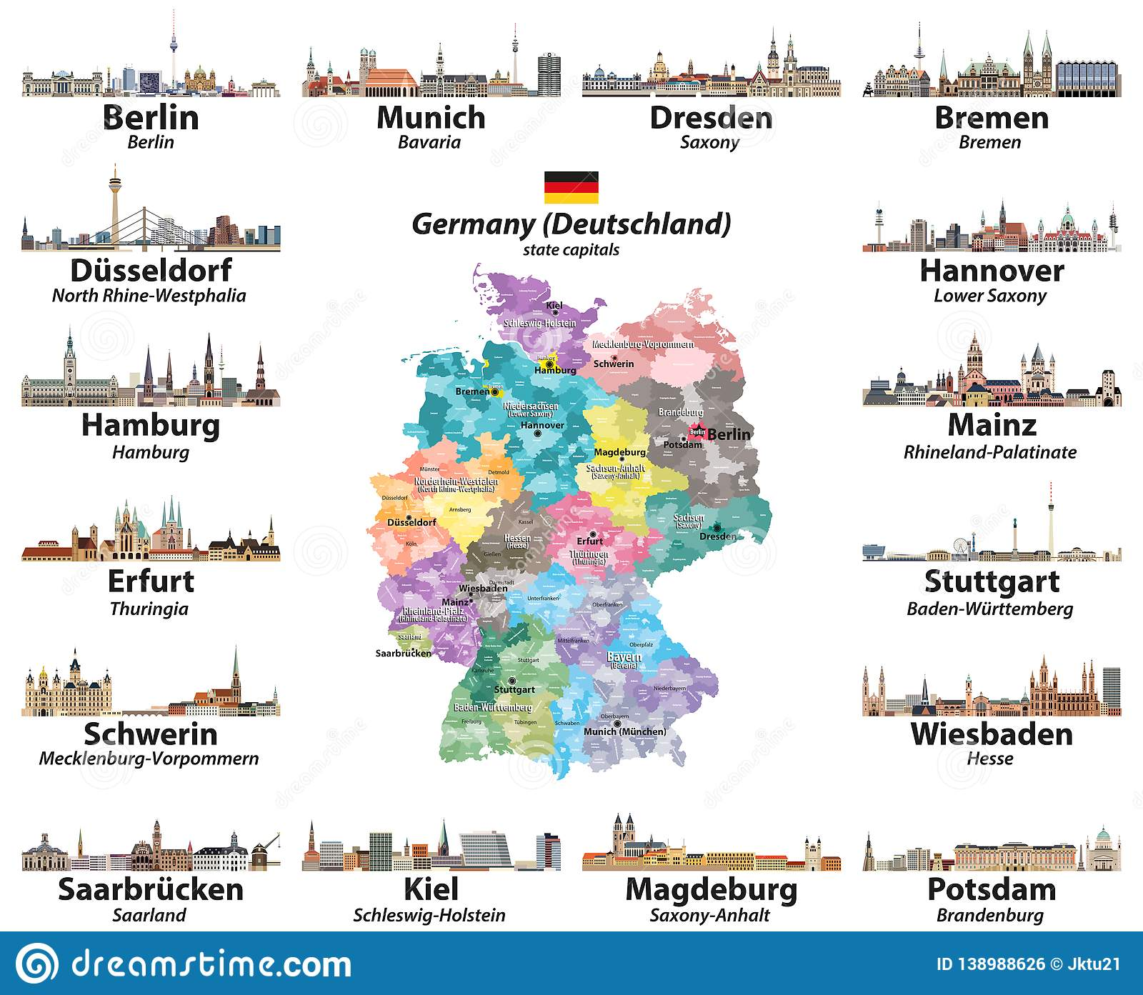 Vector Set Of Germany Map With State Capitals Cities Skylines. All ...