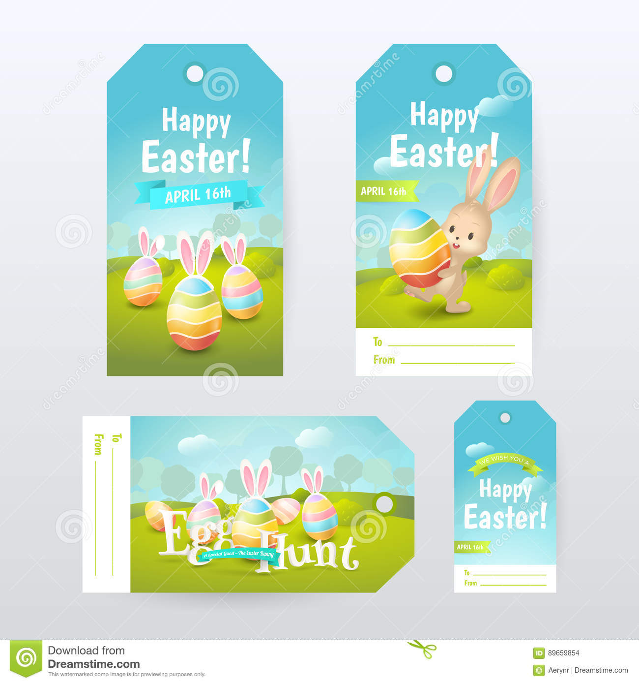 Vector set of gift tags with title happy easter and egg hunt vector set of gift tags with title happy easter and egg hunt with colored eggs and cute bunny negle Images