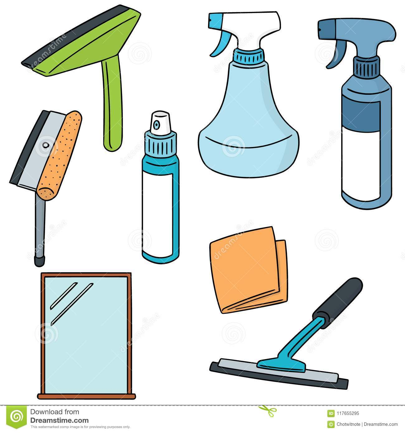 Vector Set Of Glass And Mirror Cleaner Stock Vector Illustration