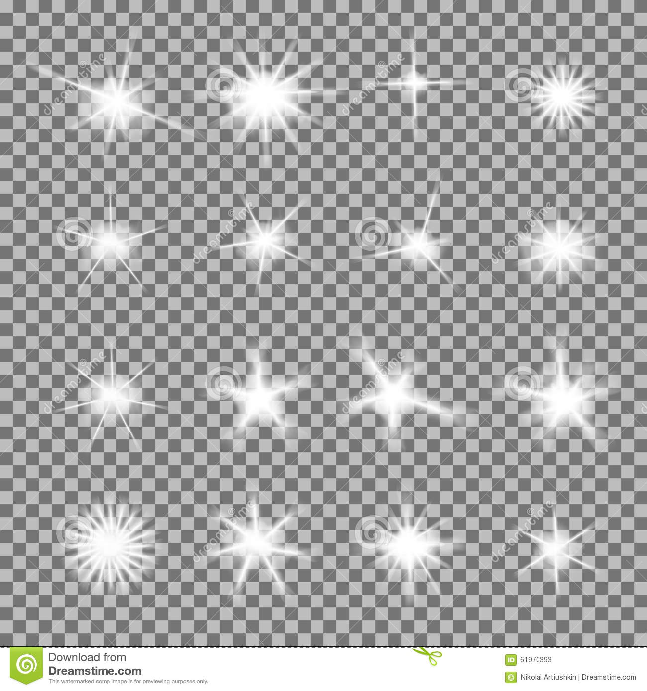 vector set of glowing light bursts with sparkles stock vector