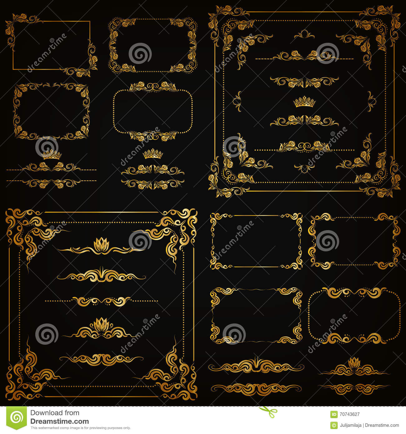 vector set of gold decorative borders  frame stock vector