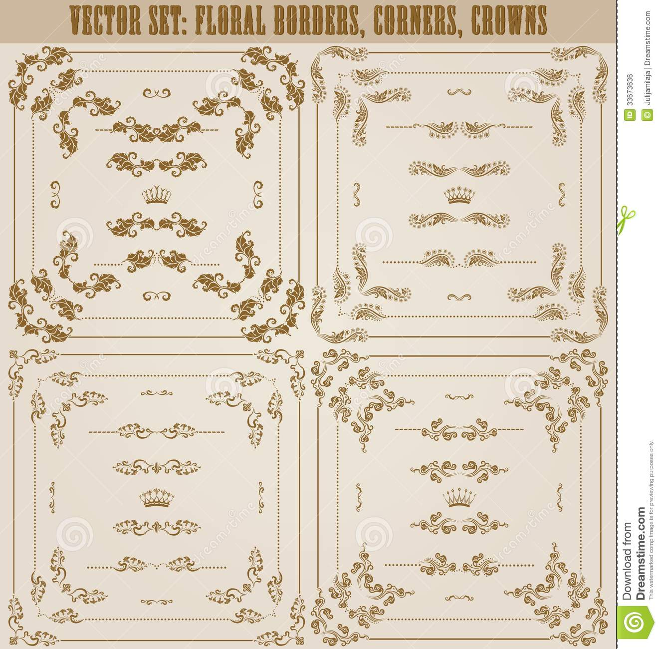 Vector set of gold decorative borders frame royalty free for Decoration page
