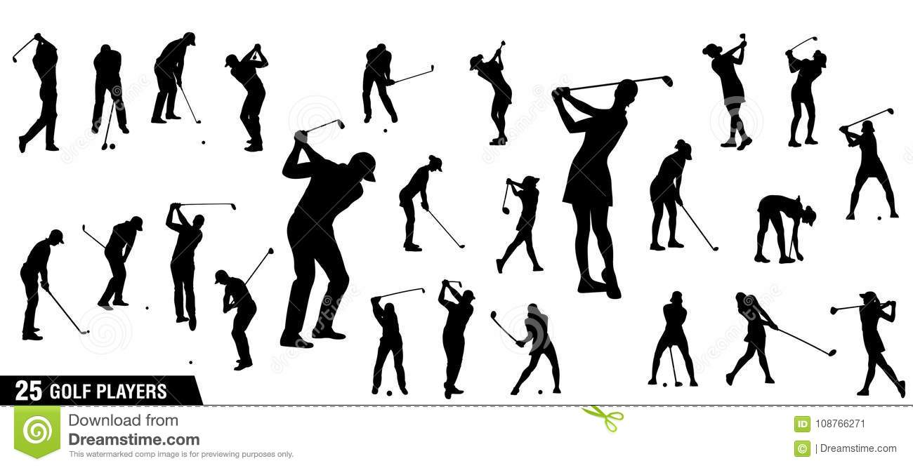 Vector Set Of Golf Players Silhouettes Stock Illustration