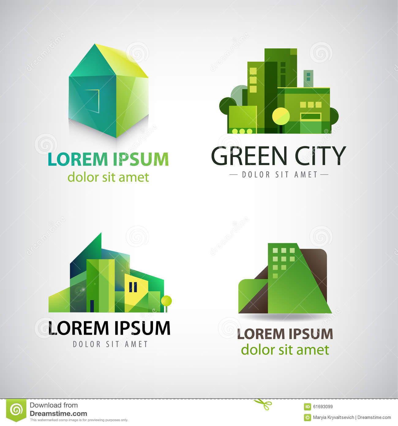 vector set of green building icons logos eco stock vector image 61693099. Black Bedroom Furniture Sets. Home Design Ideas