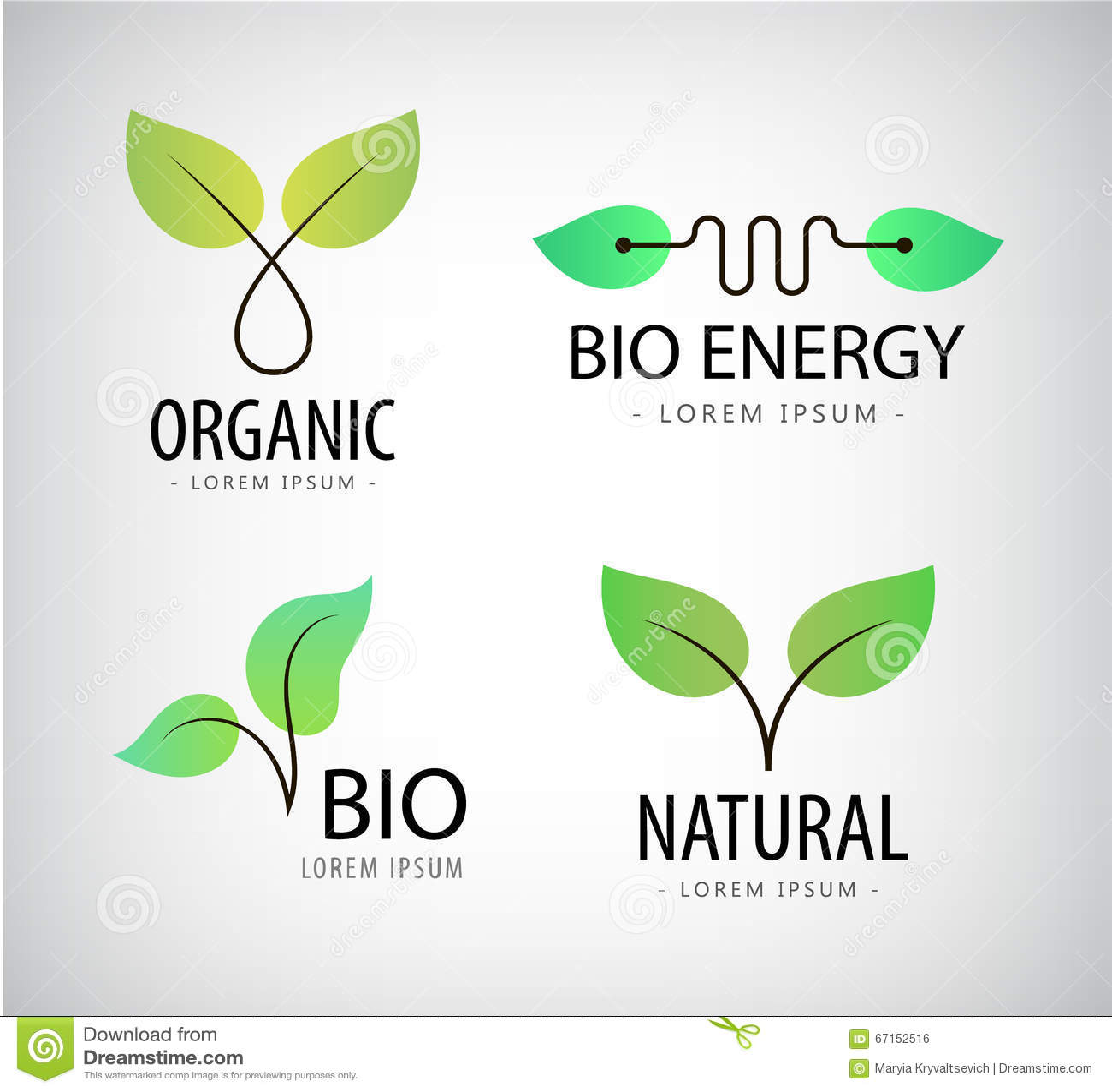 vector set of eco logos leaves organic vector