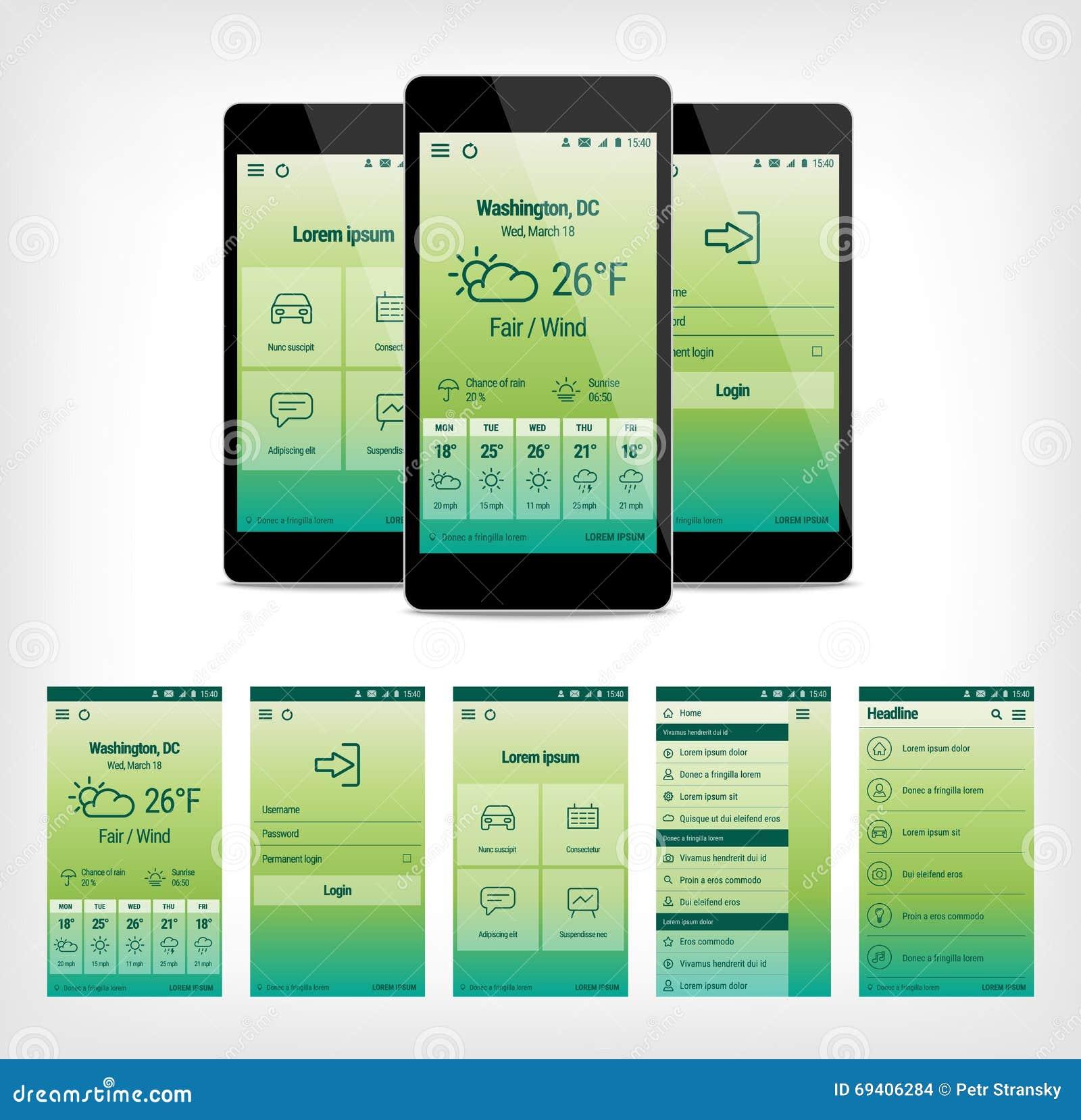 Vector set of green mobile user interface design stock Remodeling apps