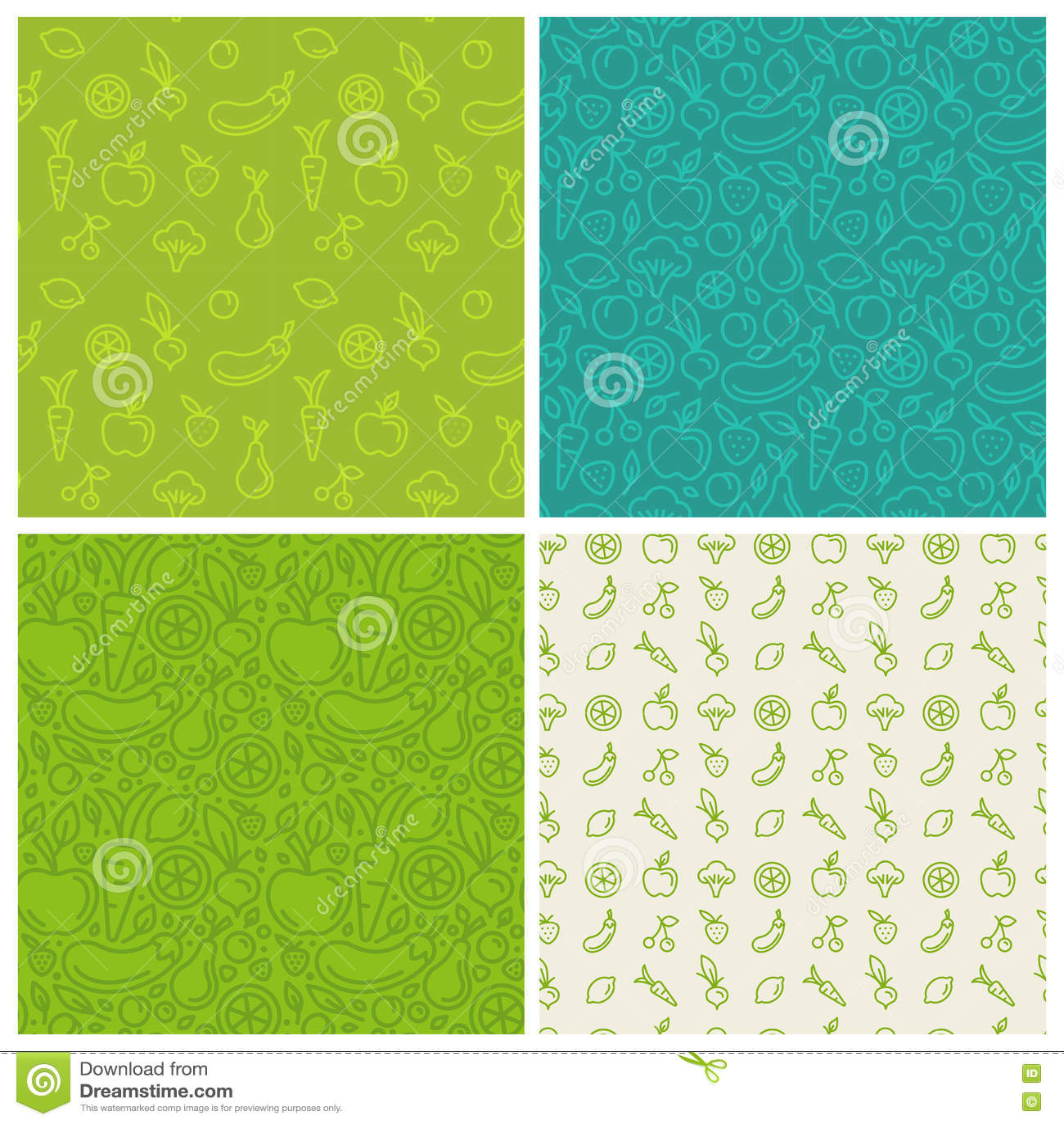 Vector set of green seamless patterns