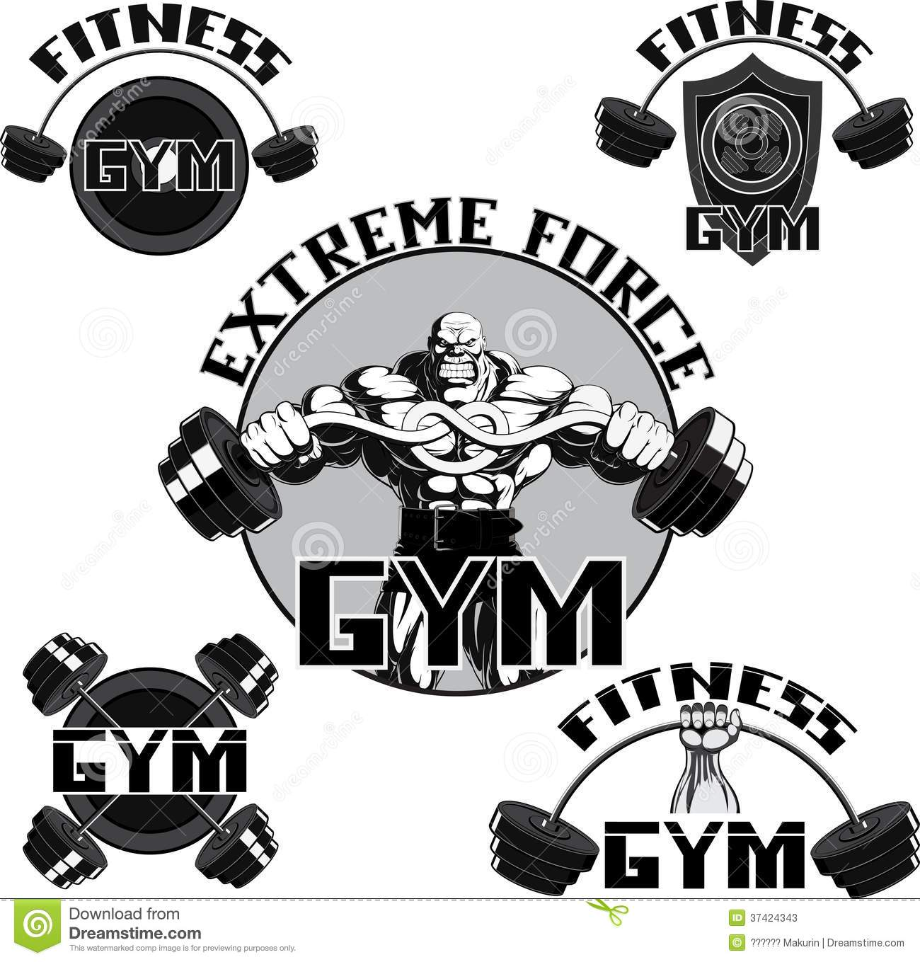 Vector Set Gym Stock Vector Illustration Of Exercise