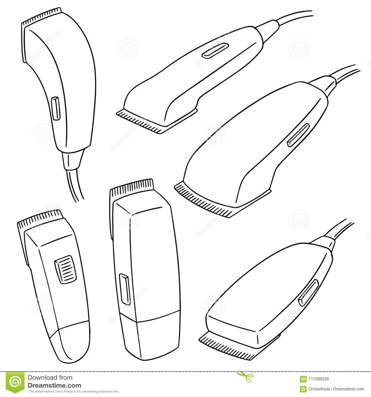 Vector Set Of Hair Cutting Machine Stock Vector Illustration Of Beauty Line 117696326