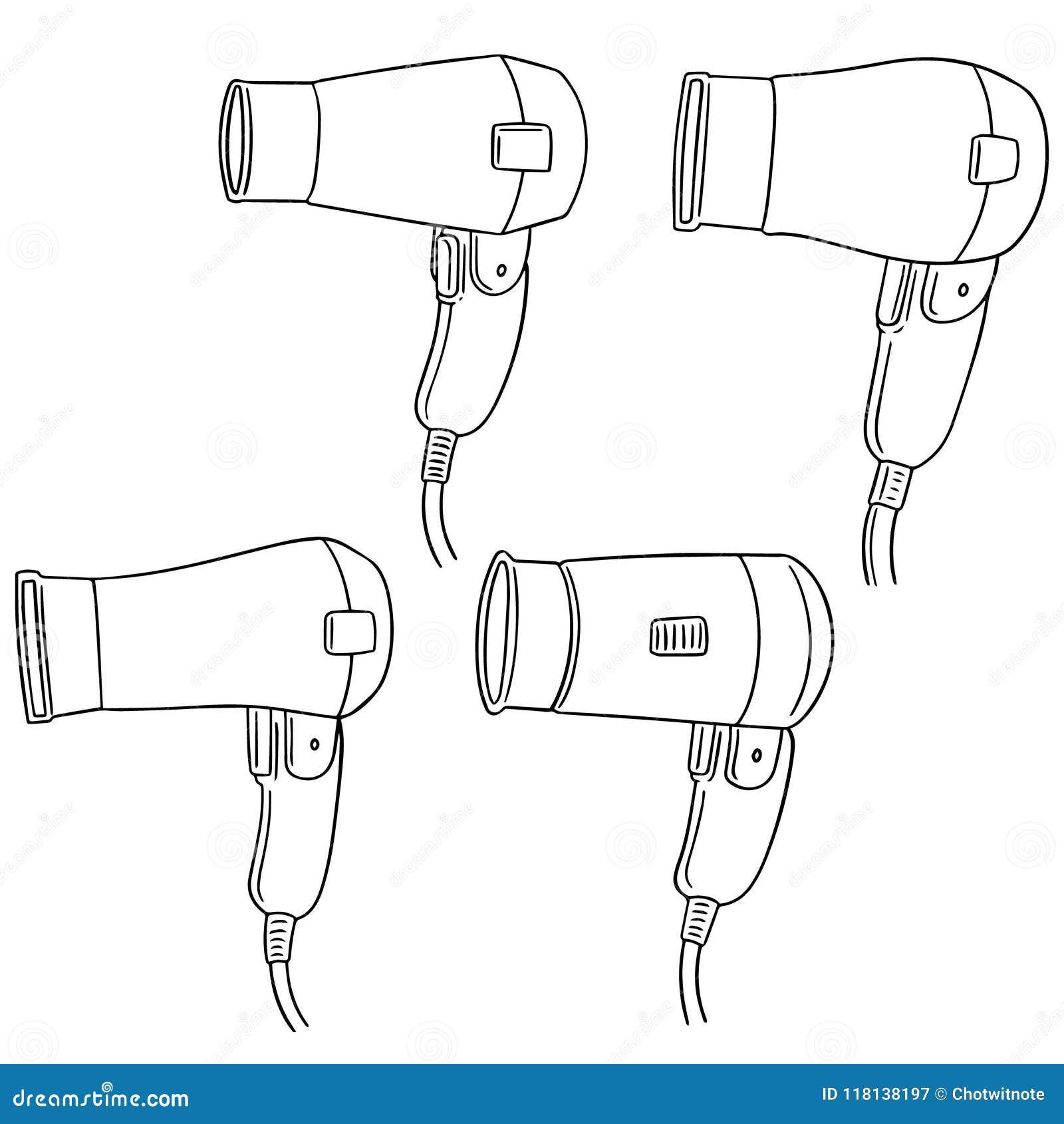 Vector Set Of Hair Dryer Stock Vector Illustration Of Heat 118138197