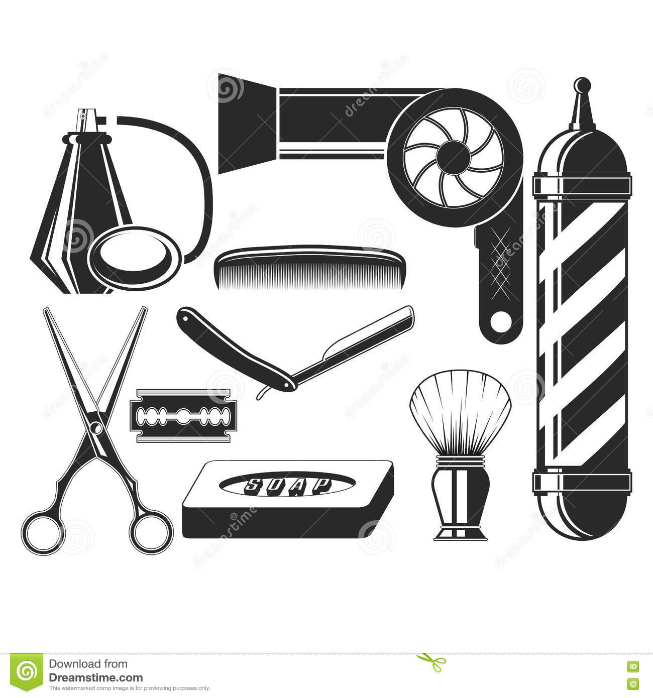 d5aa47016f4 Vector set of hair salon elements in vintage style. Hair cut beauty and barber  shop