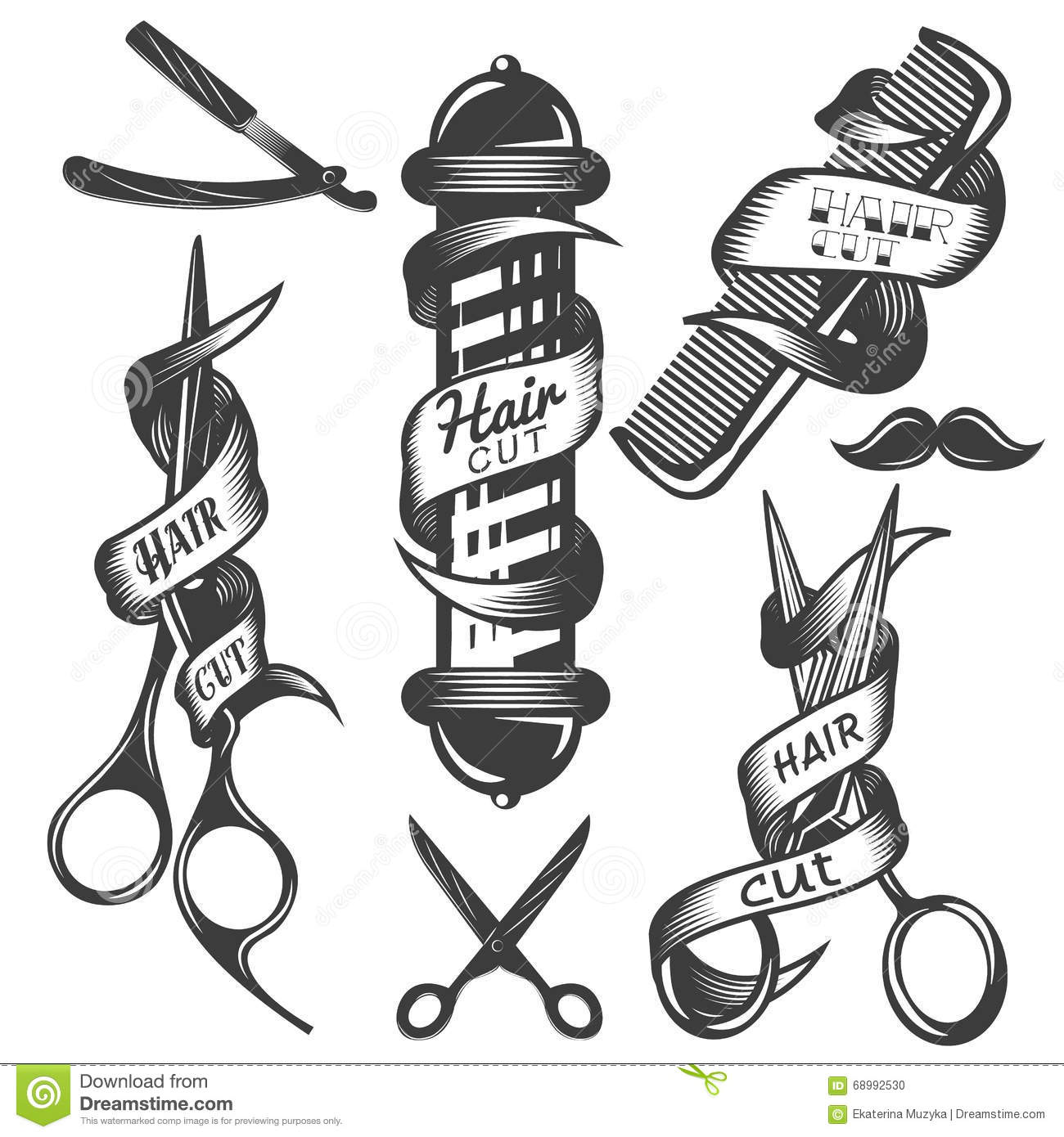 98cea005387 Vector set of hair salon vector labels in vintage style. Hair cut beauty  and barber shop, scissors, blade.