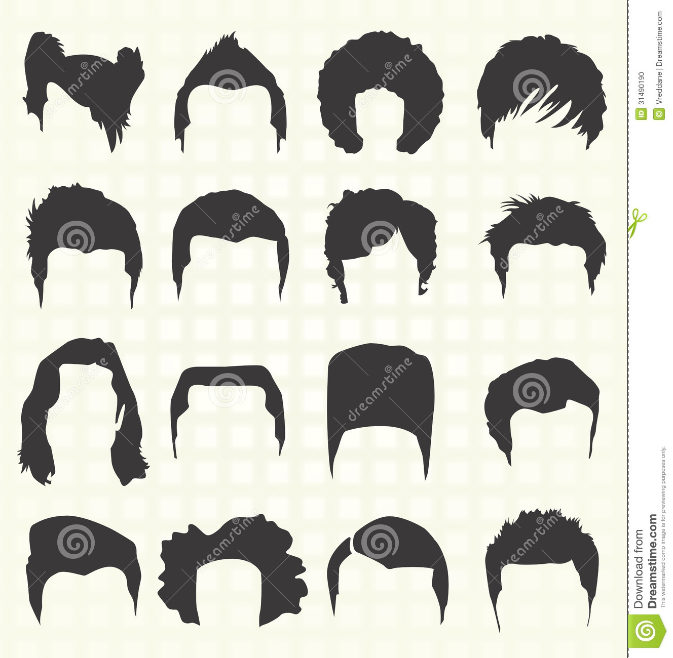 Hairstyle Vector : More similar stock images of ` Vector Set: Hair Style Silhouettes `