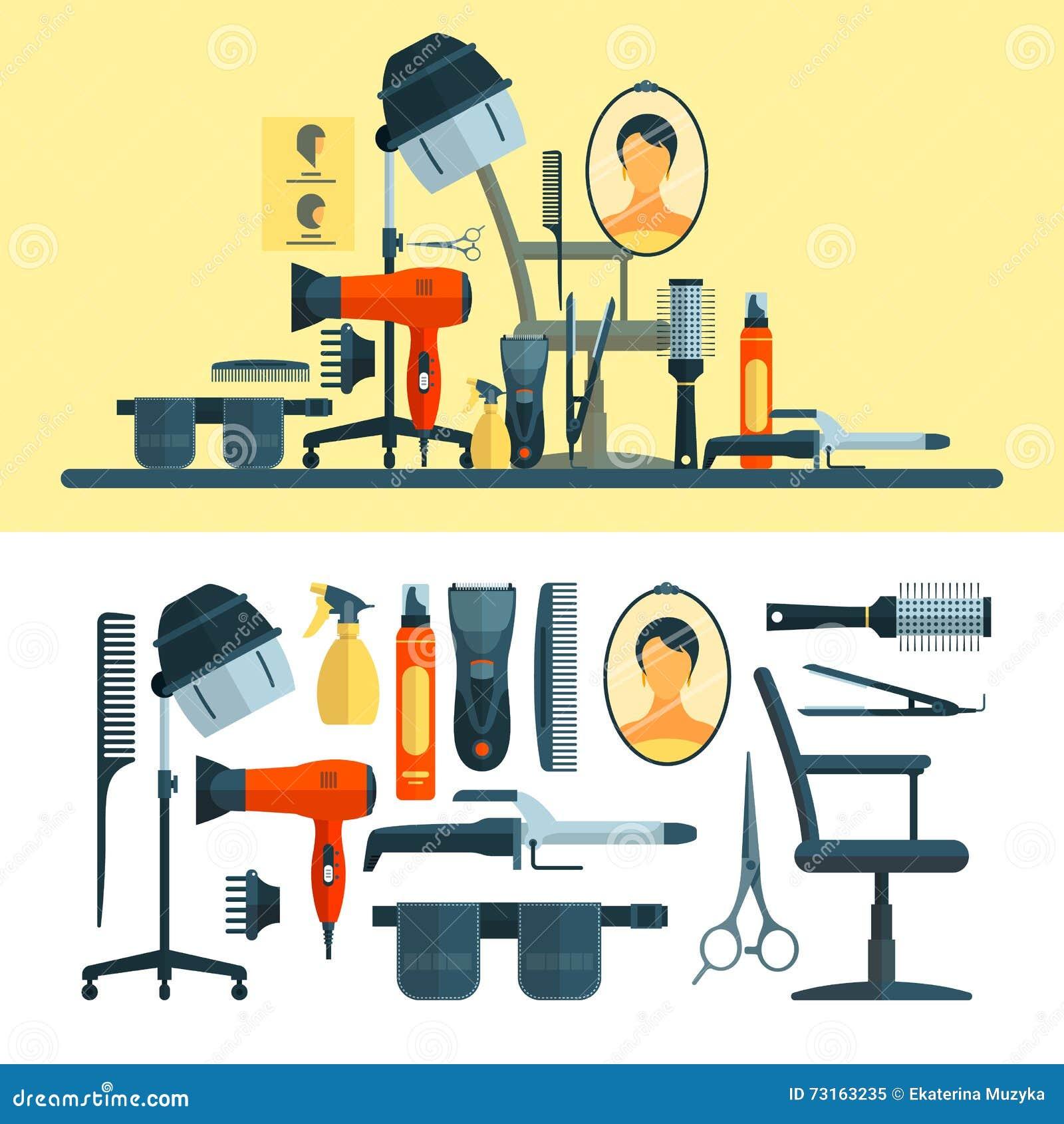Vector Hairdresser Tools Isolated Cartoon Vector
