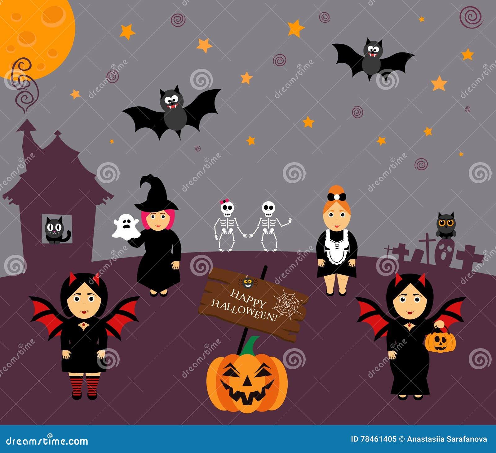 Vector Set For Halloween In Cartoon Style. Pumpkin, Ghost, Owl, Bat ...