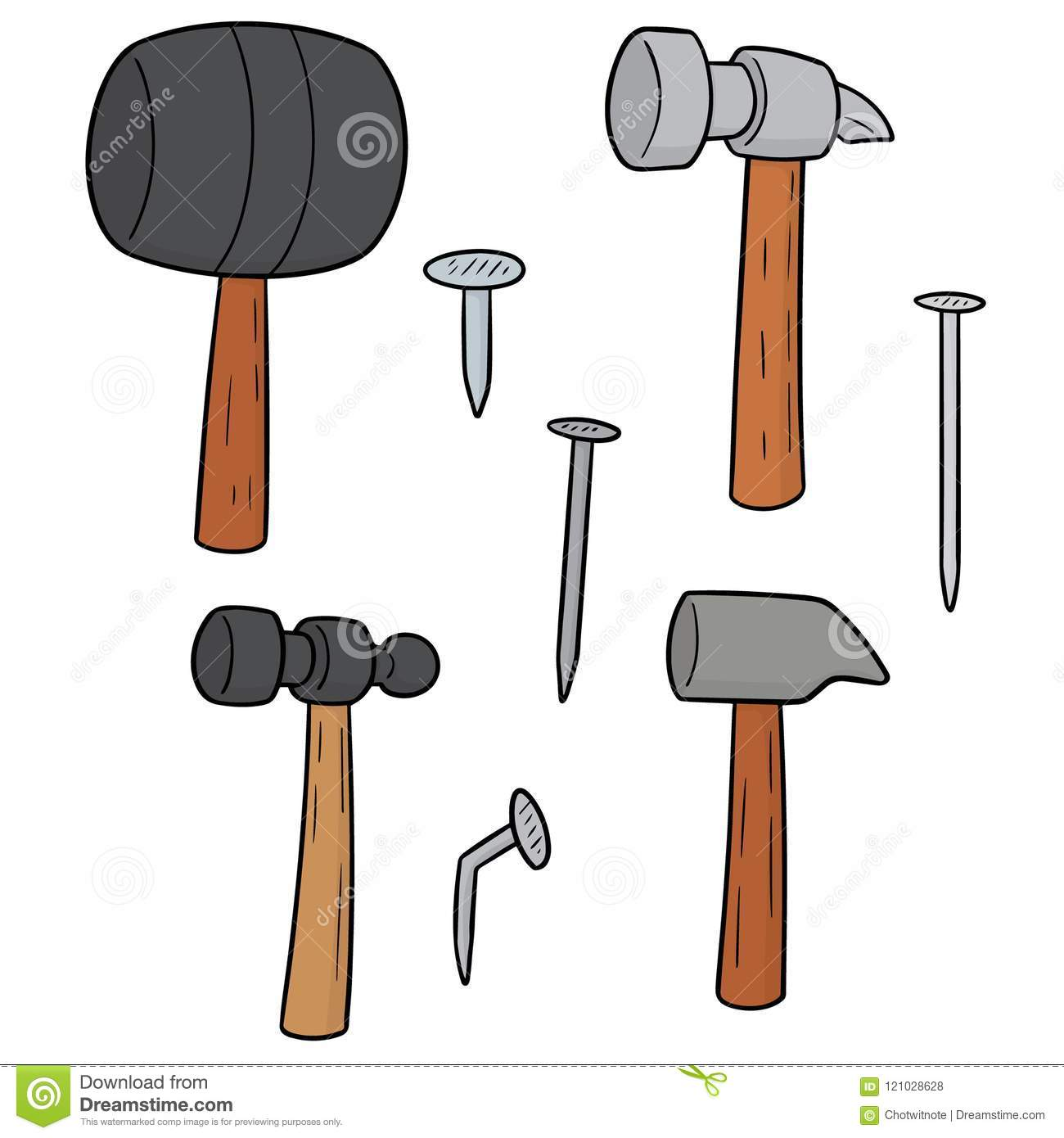 Vector Set Of Hammer And Nails Stock Vector , Illustration