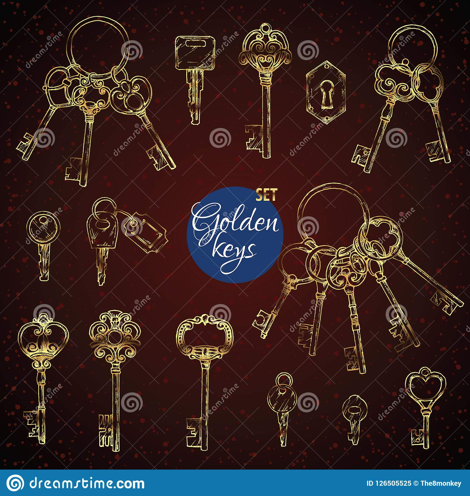 vector set of hand-drawn antique keys  illustration in sketch style on  white background