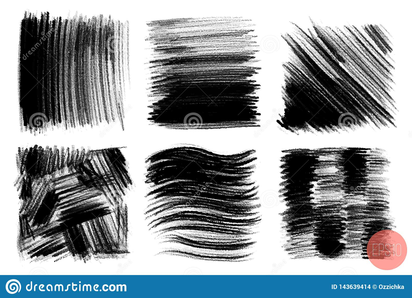 Vector Set Of Hand Drawn Brush Strokes Stains For Backdrops Greyscale Design Elements Set Aartistic Hand Drawn Stock Vector Illustration Of Silhouette Border 143639414