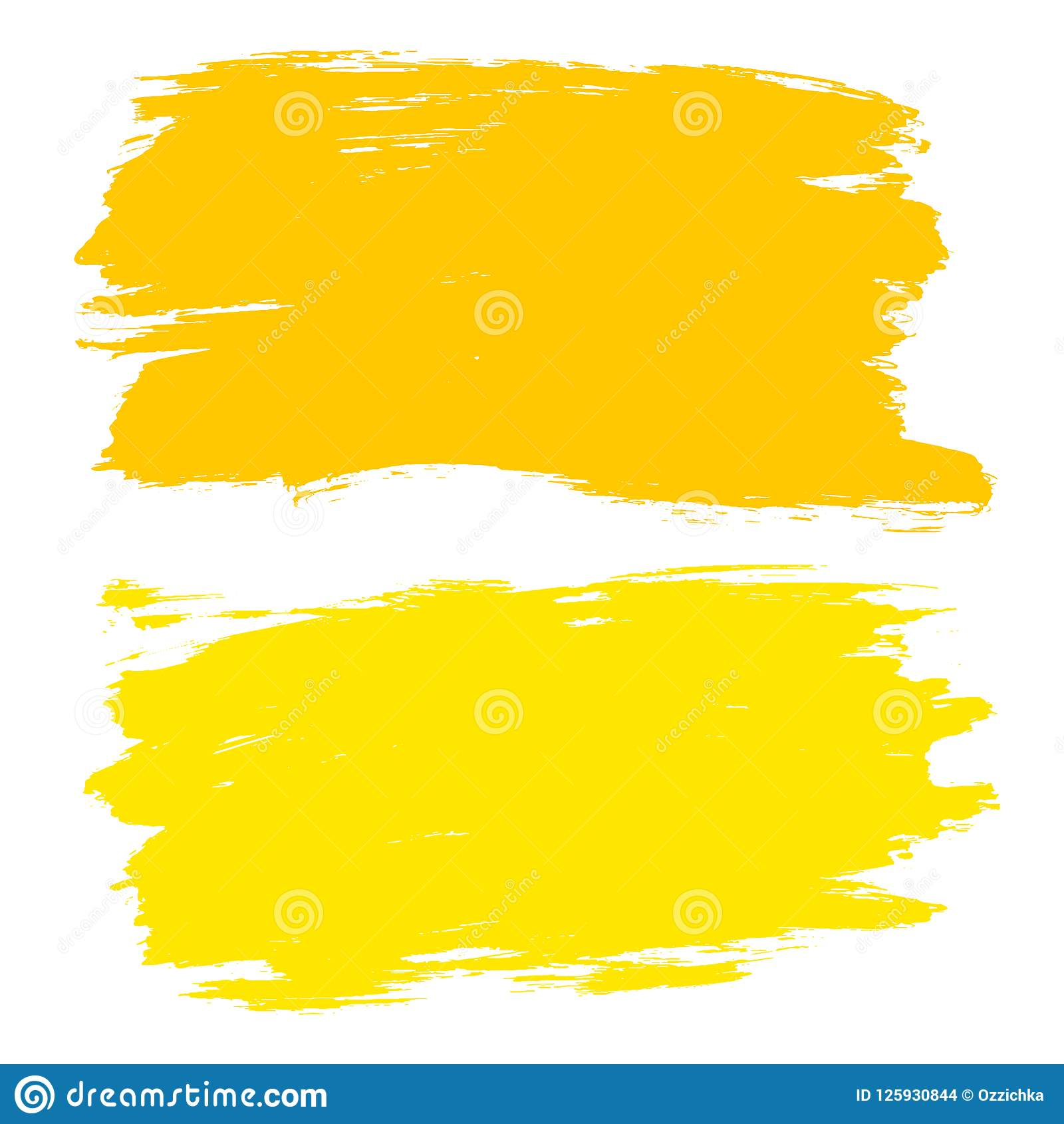 Vector Set Of Hand Drawn Brush Strokes Stains Yellow Color