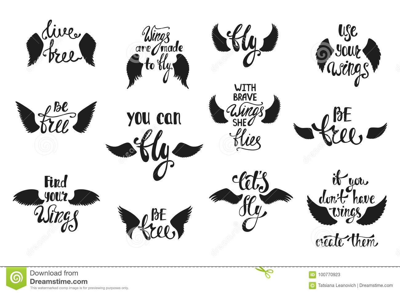 Vector Set Of Hand Drawn Calligraphy Phrases With Angel ...