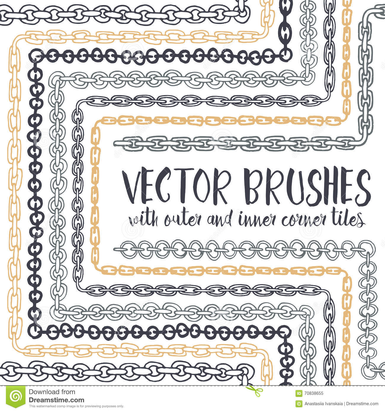 Vector Set Of 8 Hand Drawn Chain Pattern Brushes Stock
